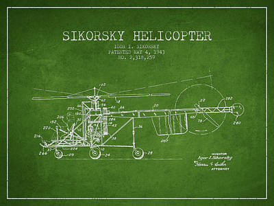 Sikorsky Helicopter Patent Drawing From 1943 Poster by Aged Pixel