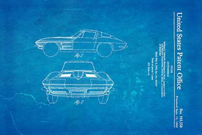 '63 Corvette Stingray Patent Art 1962 Blueprint Poster by Ian Monk
