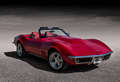 Automotive Poster featuring the digital art 69 Red Stingray by Douglas Pittman