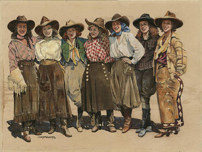7 Cowgirls - Old Time 1920's Poster by Don  Langeneckert