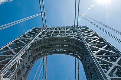 Low Angle View Of A Suspension Bridge Poster by Panoramic Images