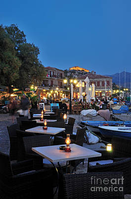 Molyvos Village During Dusk Time Poster by George Atsametakis