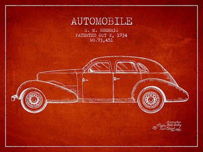 Cord Automobile Patent From 1934 Poster by Aged Pixel