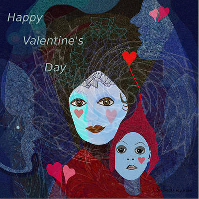 830 - Happy Valentines Day Poster by Irmgard Schoendorf Welch