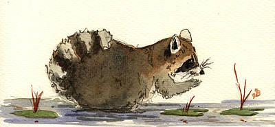 Raccoon  Poster by Juan  Bosco