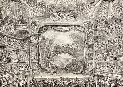 Black And White Paris Poster featuring the drawing A 1789 Performance In The Theatre Des Varietes Amusantes by French School