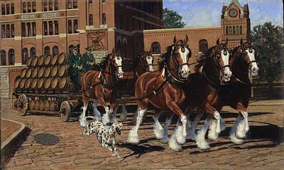 Five Horse Hitch - Dalmation Poster by Don  Langeneckert