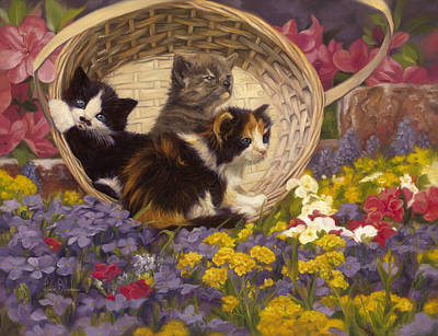 A Basket Of Cuteness Poster by Lucie Bilodeau