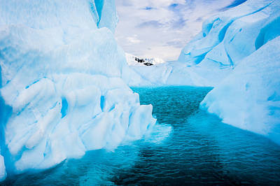 A Blue Lagoon - Antarctica Iceberg Photograph Poster by Duane Miller