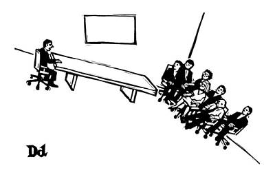 A Board Meeting On A Slant Poster by Drew Dernavich