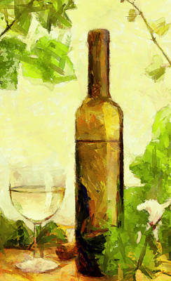 A Bottle Of Wine Poster by Yury Malkov