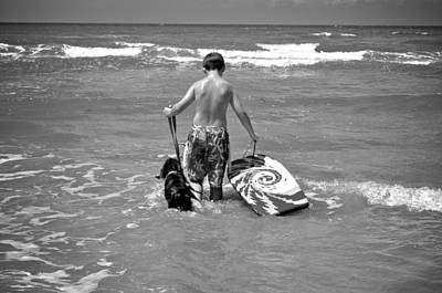 A Boy And His Dog Go Surfing Poster by Kristina Deane