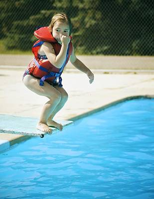 A Child Jumps Off Diving Board Poster by Kelly Redinger