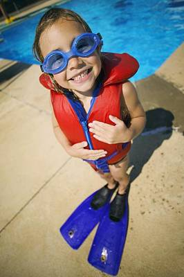 A Child Ready To Go Swimming Poster by Kelly Redinger