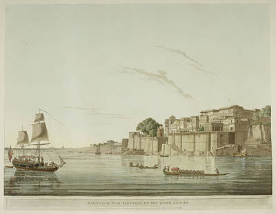 A City On The River Ganges. Poster by British Library