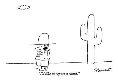 A Cowboy Talks On A Cell Phone In A Desert Poster by Charles Barsotti