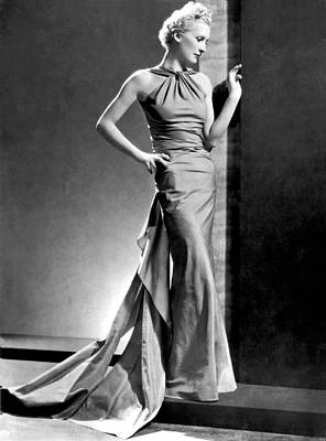 A Fashion Shot From France Showing An Evening Dress With Its Dou Poster by -