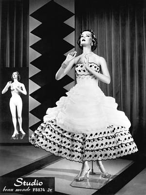 A Fashionable Mannequin And Her Unclothed Version In The Backgro Poster by Underwood Archives