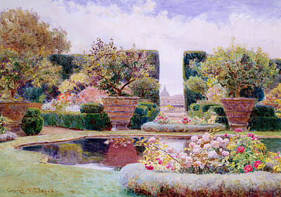 A Formal Garden In Rome Poster by George Samuel Elgood