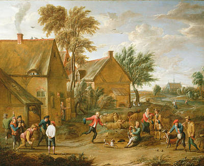 A Game Of Bowls By A Tavern Poster by Alexander van Bredael
