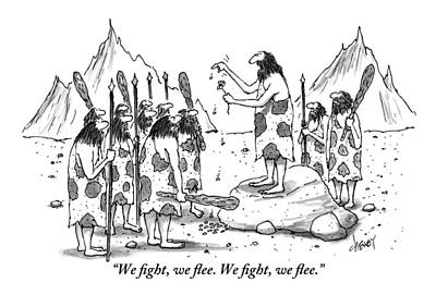 A Group Of Cavemen Gather Around A Leader Poster by Tom Cheney