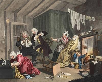 A Harlots Progress, Plate V Poster by William Hogarth