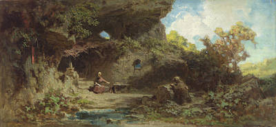 A Hermit In The Mountains Poster by Carl Spitzweg