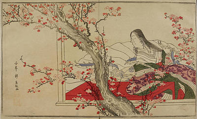 A Japanese Court Lady Admiring Plum Bloss Poster by British Library
