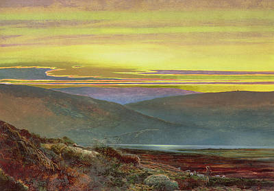 A Lake Landscape At Sunset Poster by John Atkinson Grimshaw