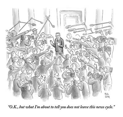 A Man Answers Questions At A Press Conference Poster by Paul Noth