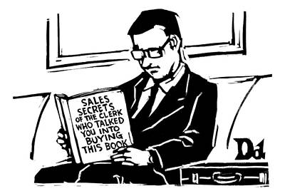 A Man In A Suit Reads A Book With The Title: Poster by Drew Dernavich
