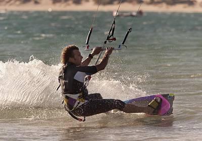A Man Kitesurfing Tarifa, Cadiz Poster by Ben Welsh