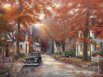 Classic Car Poster featuring the painting A Moment On Memory Lane by Chuck Pinson