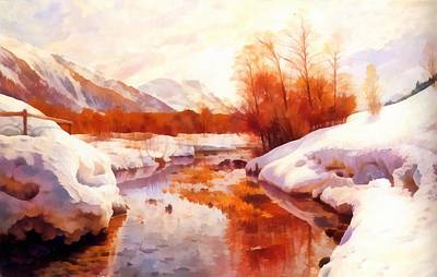 A Mountain Torrent In A Winter Landscape Poster by Peder Mork Monsted