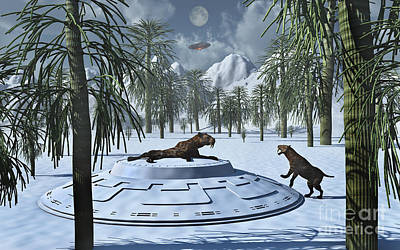 A Pair Of Sabre-tooth Tigers Poster by Stocktrek Images