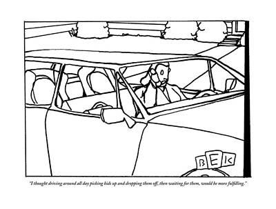 A Parent Driving A Car Poster by Bruce Eric Kaplan