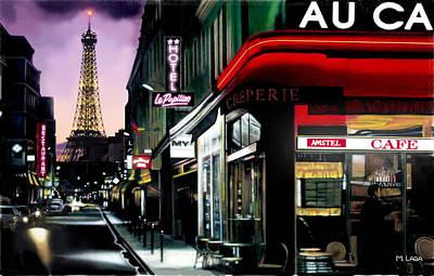 A Paris Night Poster by Marcos Lara