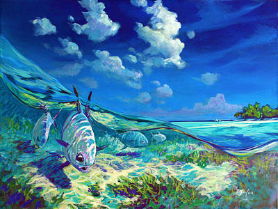 A Place I'd Rather Be - Caribbean Permit Fly Fishing Painting Poster by Savlen Art