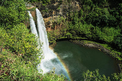 A Rainbow Adorns Wailua Falls  Kauai Poster by Robert L. Potts