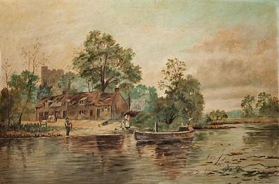A River Scene Poster by Thomas Grimshaw