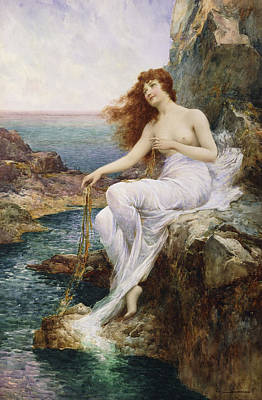 A Sea Nymph Seated On A Rock With A Ribbon Of Seaweed Poster by Alfred Glendening Jr