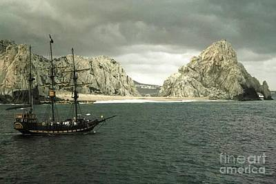 A Ship Passes Land's End - Cabo San Lucas Poster by Christy Gendalia