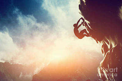 A Silhouette Of Man Climbing On Rock Mountain Poster by Michal Bednarek