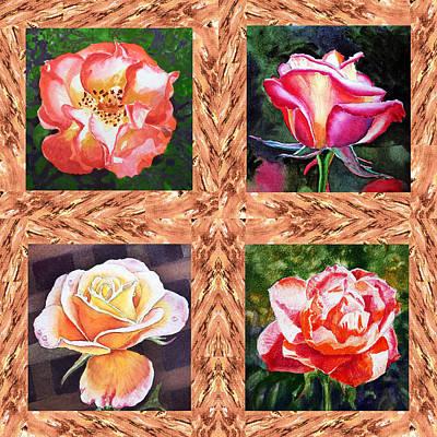 A Single Rose Quartet  Poster by Irina Sztukowski