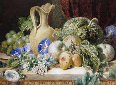 A Still Life With A Jug Apples Plums Grapes And Flowers Poster by Valentine Bartholomew