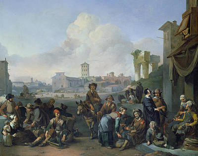 A View In Rome, 1668 Oil On Canvas Poster by Johannes Lingelbach