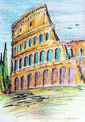 A View Of The Colosseo In Rome Poster by Roberto Gagliardi