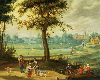 A Village Landscape By A River Oil Poster by Isaak van Oosten