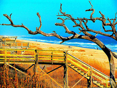 A Walk On Atlantic Beach Poster by Mj Carbo