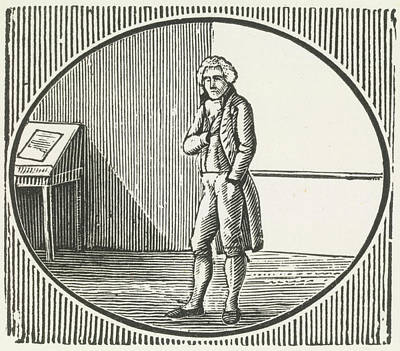 A Woodcut Of A Man Standing Poster by British Library